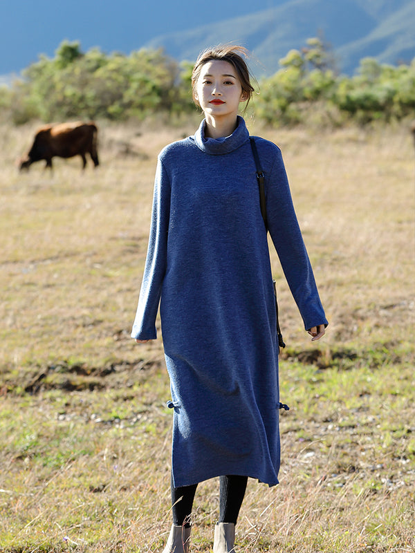 Loose Blue And Red High Neck Maxi Sweater Dresses For Women Q81007