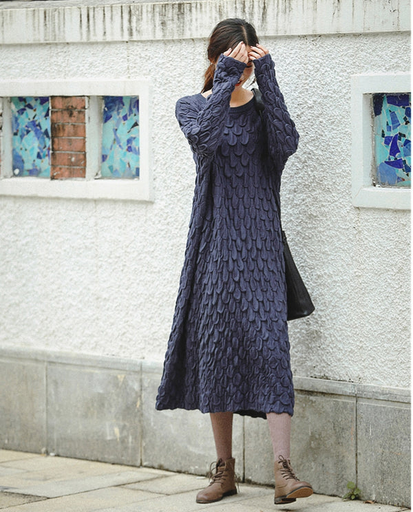 Black And Blue Loose Thicken Sweater Dresses For Women Z81042