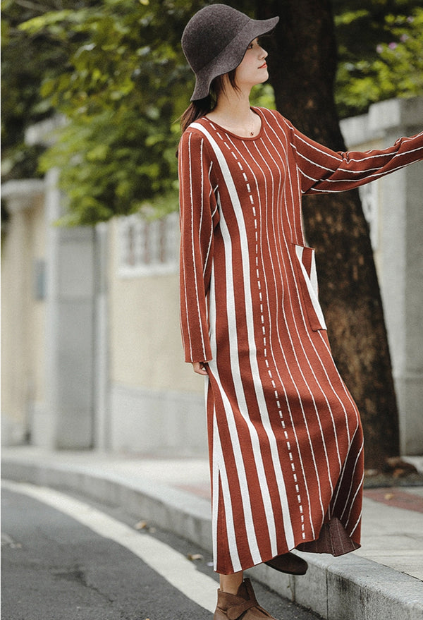Vintage Brown Striped Maxi Sweater Dresses For Women Z81044