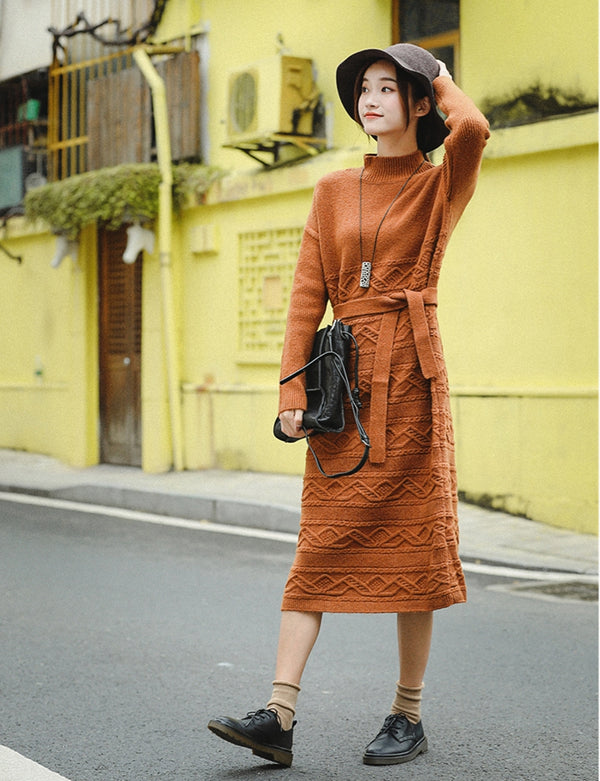 Casual Loose Orange Sweater Dresses Women Winter Clothes Z81043