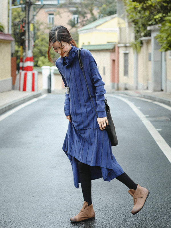 Elegant Blue High Neck Loose Sweater Dresses For Women Z81039