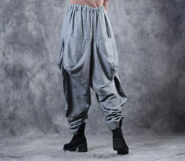Women Irregular Thick Casual Pants Loose Winter Trousers WF709