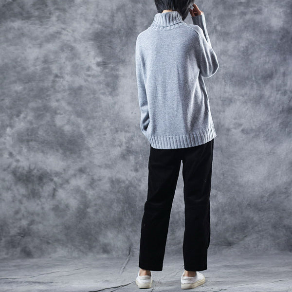 Women Casual High Neck Thick Wool Sweater Loose Winter Tops W1817