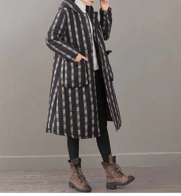 Loose Striped Hoodie Long Winter Coat Women Casual Outfits 1337