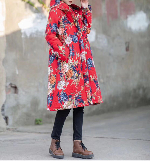 Casual Women Hoodie Print Long Coat For Women 1335