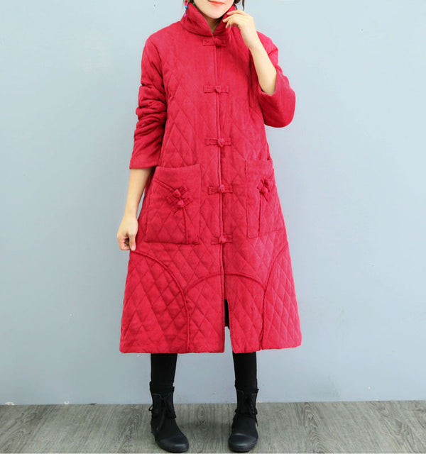 Chinese Style Vintage Corduroy Thick Coat Women Winter Tops 1321