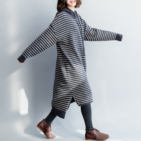 Loose Hoodie Striped Sweater Dresses For Women Q3120