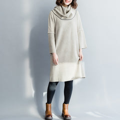 Beige Cute Knitted Loose Dresses Women Casual Clothes Q3122