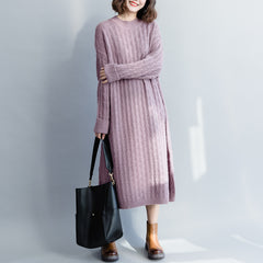 Women Elegant Purple Maxi Sweater Dresses For Winter Q3123