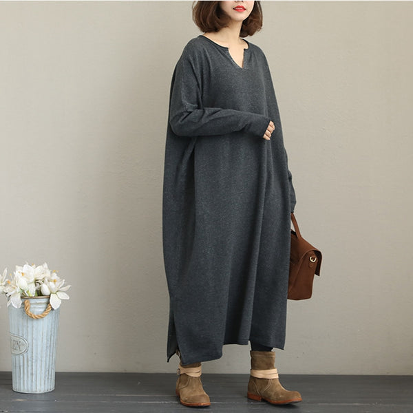 Casual Loose Knitted Maxi Dresses Women Fashion Clothes Q2011