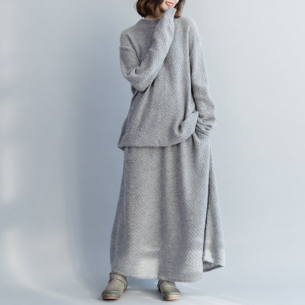 Women Casual Gray Suit Loose Knitwear With A Line Skirt S3120
