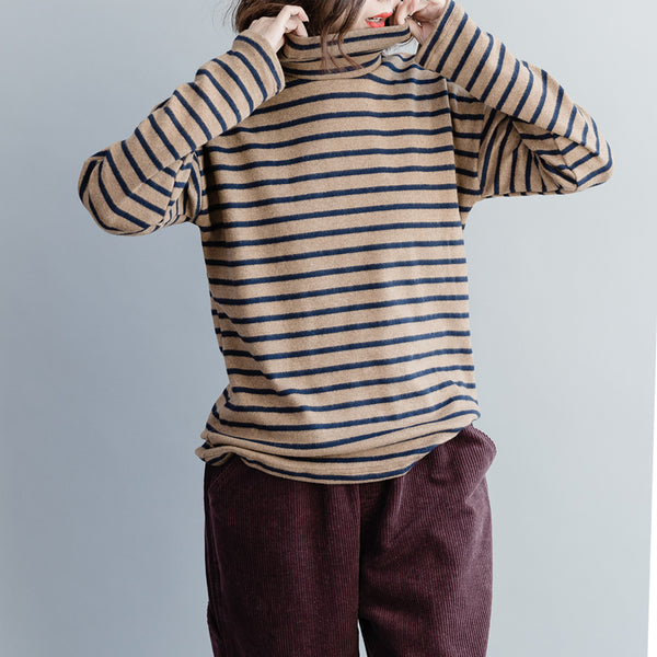 Women Loose High Neck Striped Cotton Knitwear M10121