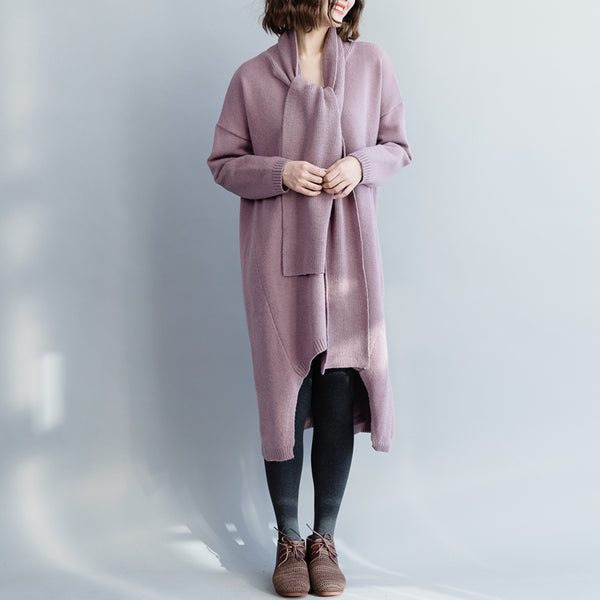 Loose Pure Color Sweater Dresses Women Winter Clothes Q10120