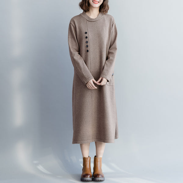 Women Casual Knitted Sweater Dresses Loose Clothes Q10121