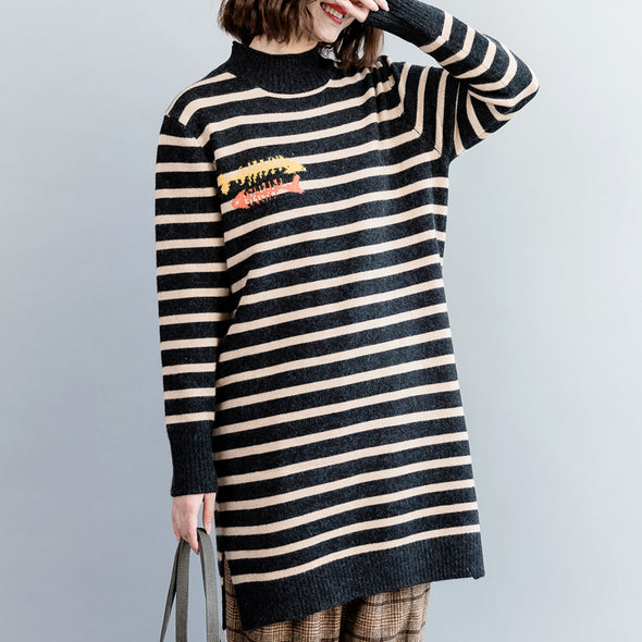 Black Striped Medium Length Sweater Women Casual Tops M10127