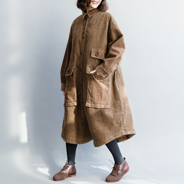 Coffee Loose Thick Corduroy Long Coat Women Casual Outfits C10120
