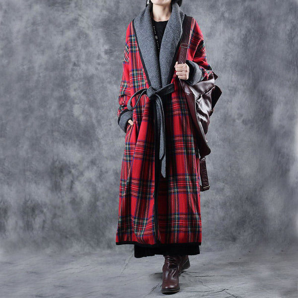 Vintage Loose Red Plaid Lace-up Woolen Overcoat For Women W3278