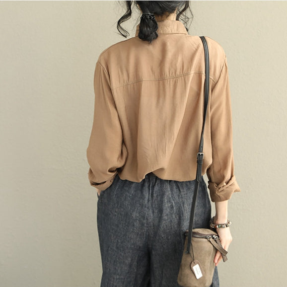 Cute Pure Color Casual Base Shirt Women Loose Tops Q2025