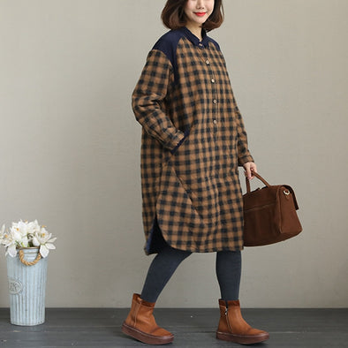 Casual Plaid Quilted Corduroy Thick Coat Women Loose Tops Q2051