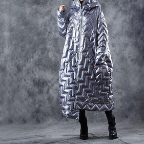 Fashion Irregular Long Down Coat For Women W0908
