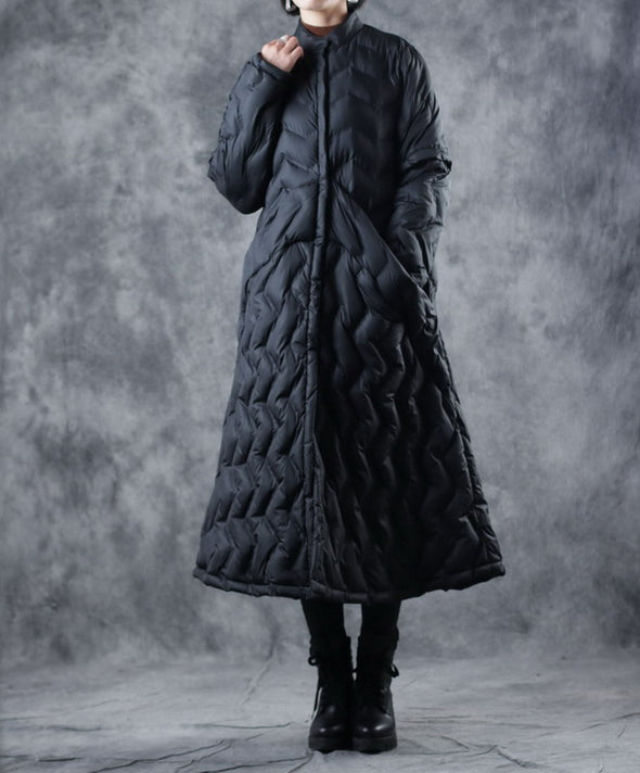 Black Loose A Line Long Winter Coat For Women W8808