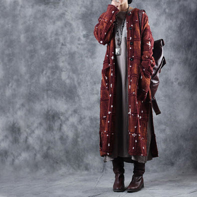 Vintage Coffee Long Woolen Overcoat Women Loose Outfits W2966
