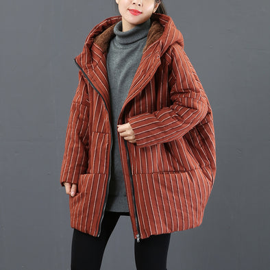Women Striped Thick Short Winter Coat Loose Outfits 3876