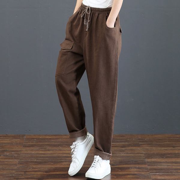 Black And Coffee Brushed Thick Pants Women Winter Trousers 6001