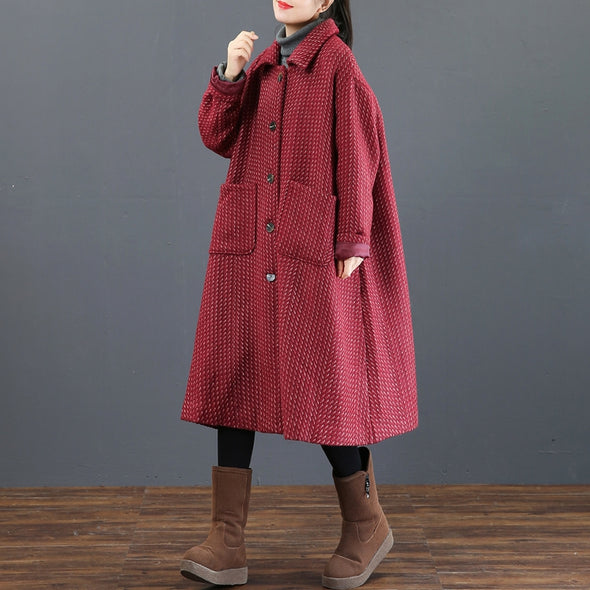 Elegant Striped Long Thick Overcoat Women Casual Outfits 3820
