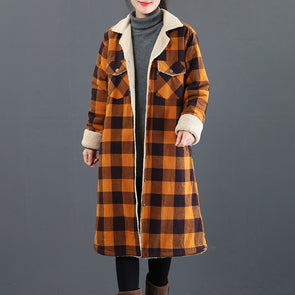 Fashion Plaid Brushed Thick Long Coat Women Casual Outfits 3861