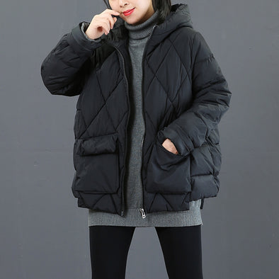 Women Black Hoodie Short Thick Winter Coat Casual Outfits 3610