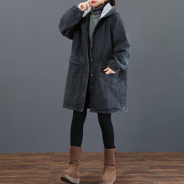 Fashion Black Hoodie Denim Coat Women Thick Winter Tops 3760