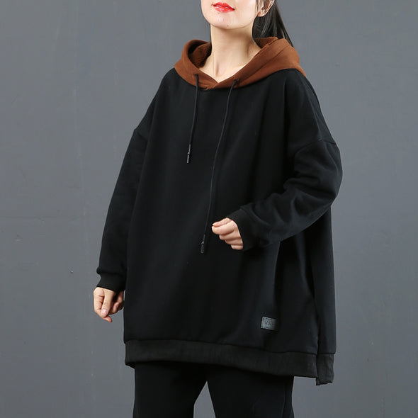 Women Loose Black Loose Brushed Fleece Casual Thick Tops 3773