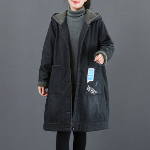 Loose Blue And Black  Hoodie Denim Thick Coat For Women 3780