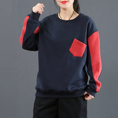 Casual Quilted Color Thick Cotton Fleece Women Loose Tops 3802