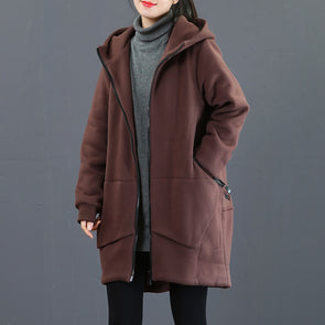 Coffee And Black Hoodie Brushed Thick Coat For Women 3857