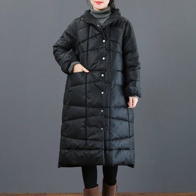 Simple Loose Button Down Thick Winter Coat For Women 3568
