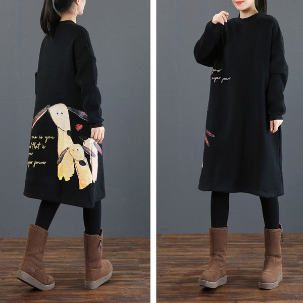 Casual Black Print Cotton Thick Fleece Dresses For Women 3862