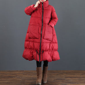 Loose Stand Collar Thick Long Winter Coat For Women 3761