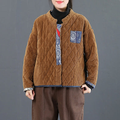 Vintage Fashion Thick Corduroy Short Winter Coat For Women 3809