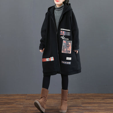 Black Hoodie Long Cotton Coat Women Loose Outfits 3755