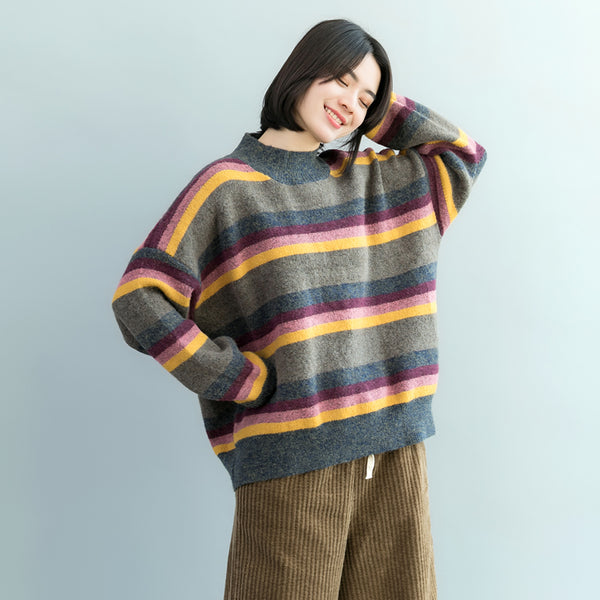 Loose Striped Thick Woolen Sweater Women Casual Winter Tops M17120