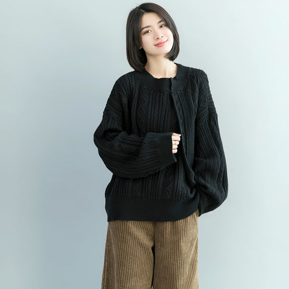 Black And Gray Loose Sweater Women Casual Knitwear M17124