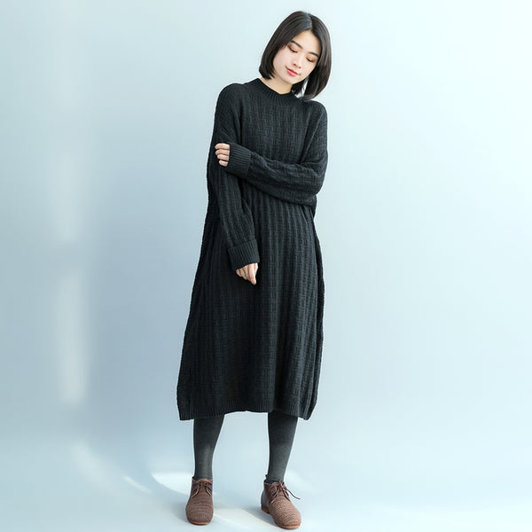 Casual Black And Purple Sweater Dresses For Women Q17120