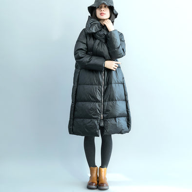 Women Loose Long Zipper Down Coat With Scarf C17120