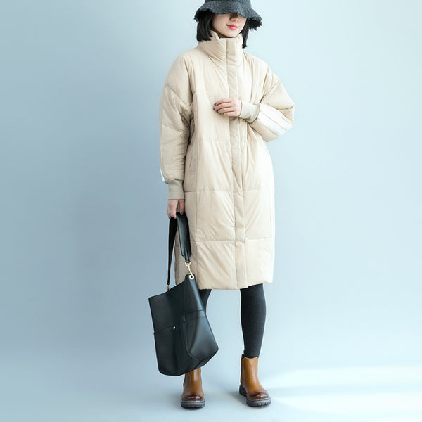 Casual Stand Collar Long Loose Winter Coat For Women C17121
