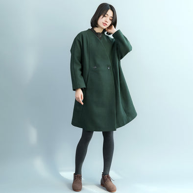 Elegant Women Green Long Woolen Overcoat Casual Outfits C17122