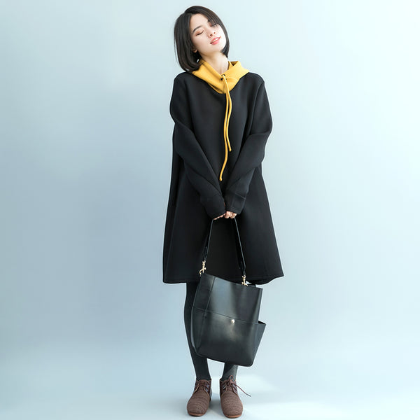 Casual Black Hoodie Cotton Dresses For Women Q17122