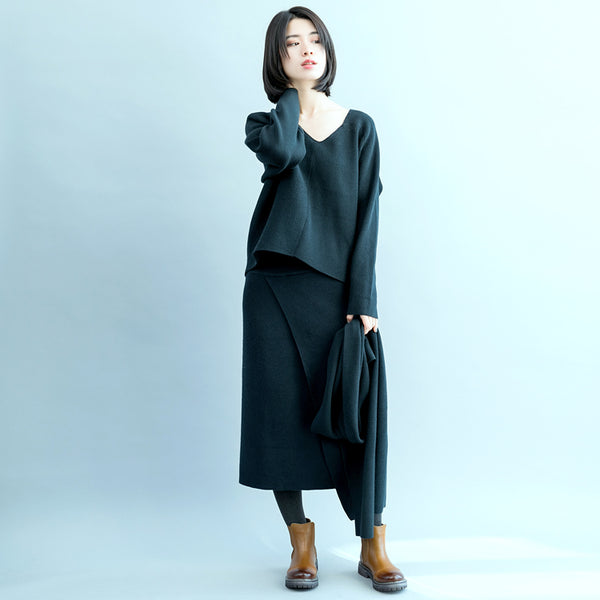 Women Green Casual Suit V Neck Knitwear With Loose Skirt S17122