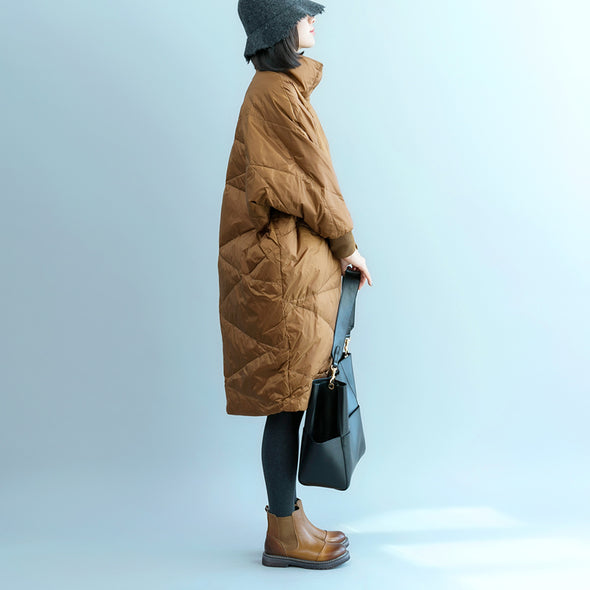 Camel Stand Collar Casual Long Down Coat For Women C17123